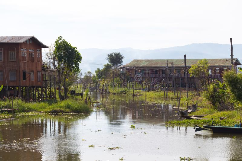 Floating villages of Inle Lake, Myanmar. Floating villages of Inle Lake, in Myanmar stock photo
