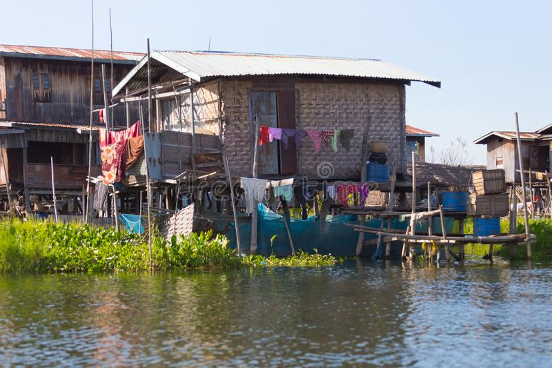 Floating villages of Inle Lake, Myanmar. Floating villages of Inle Lake, in Myanmar royalty free stock photography