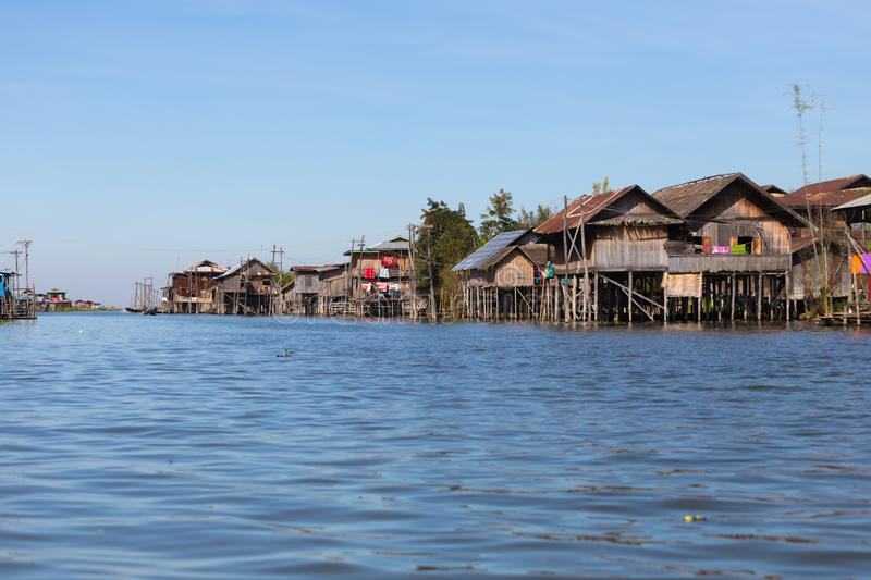Floating villages of Inle Lake, Myanmar. Floating villages of Inle Lake, in Myanmar royalty free stock images