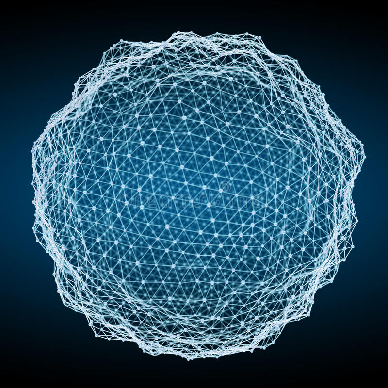 Free Floating White And Blue Glowing Sphere Network 3D Rendering Stock Images - 87671704