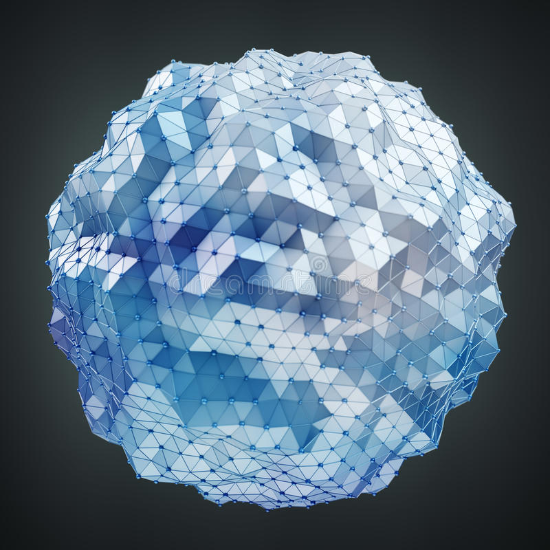 Floating white and blue glowing sphere network 3D rendering royalty free illustration