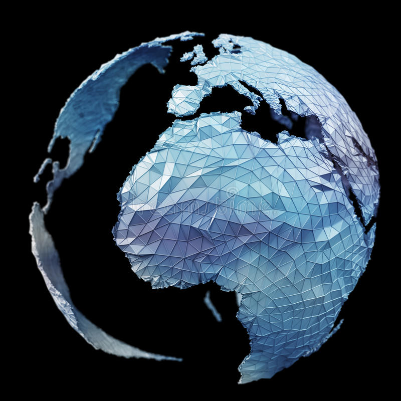 Floating white and blue planet earth network 3D rendering. Floating white and blue planet earth network on black background 3D rendering vector illustration