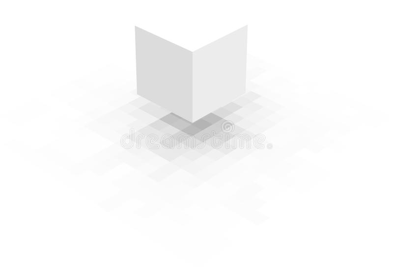 Floating white cube with pixel shadow over white stock illustration