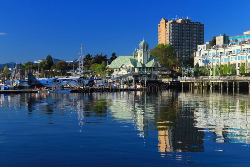 Floatplanes dans le port de Nanaimo, île de Vancouver photo stock