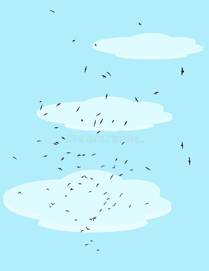 Flock av fåglar i himlen royaltyfria bilder