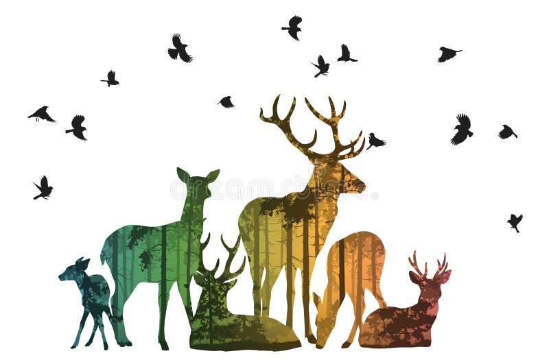 Flock av hjortar med fåglar royaltyfri illustrationer