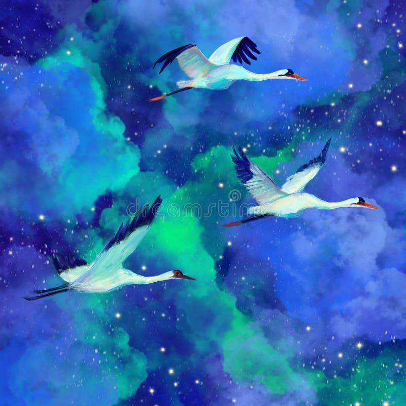Flock of beautiful birds birds on a fantastic sky watercolor illustration. Galactic stars, night sky, bright lights vector illustration