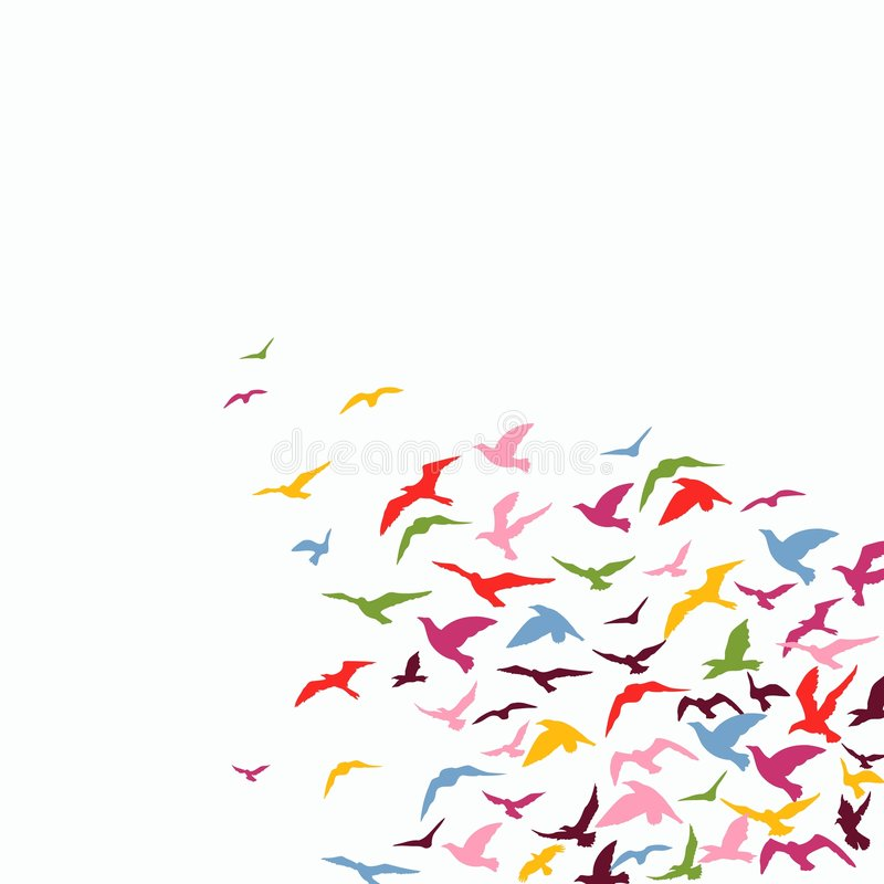 Flock of birds. Vector colorful background of a birds' flock