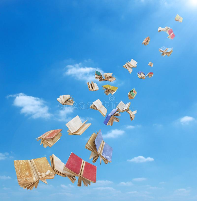 A flock of books is flying vector illustration