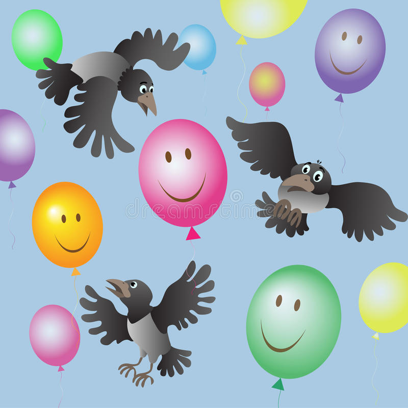 A flock of crows and colored balloons stock illustration