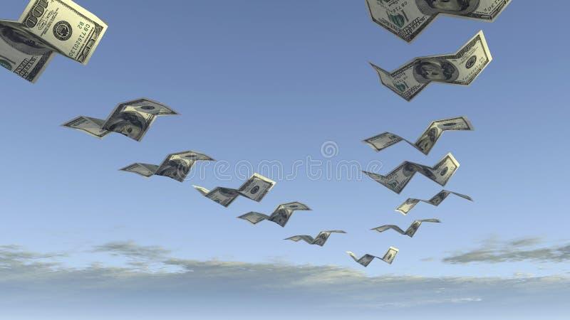 Flock of dollar fly away royalty free stock photo