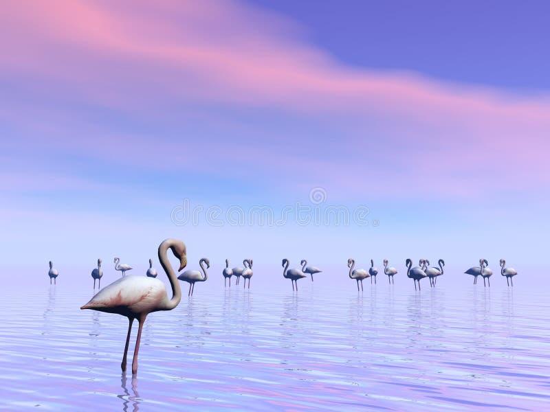 Flock of flamingos - 3D render vector illustration