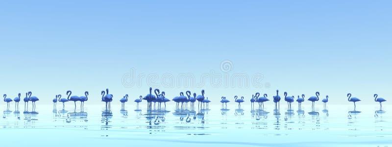 Flock of flamingos - 3D render royalty free illustration