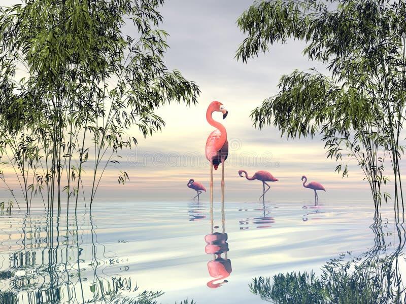 Flock of flamingos among bamboos - 3D render stock illustration