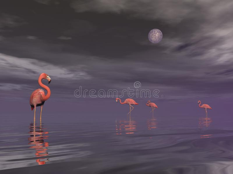 Flock of flamingos by night - 3D render vector illustration