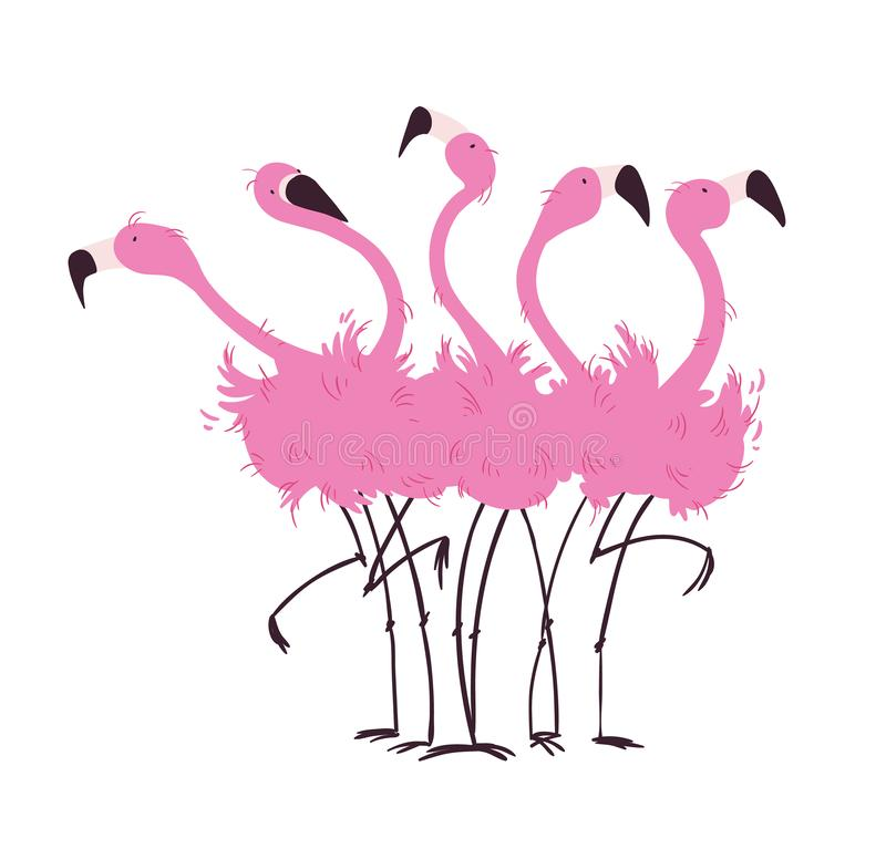 Free Flock Of Flamingos Vector Illustration Royalty Free Stock Images - 131838579
