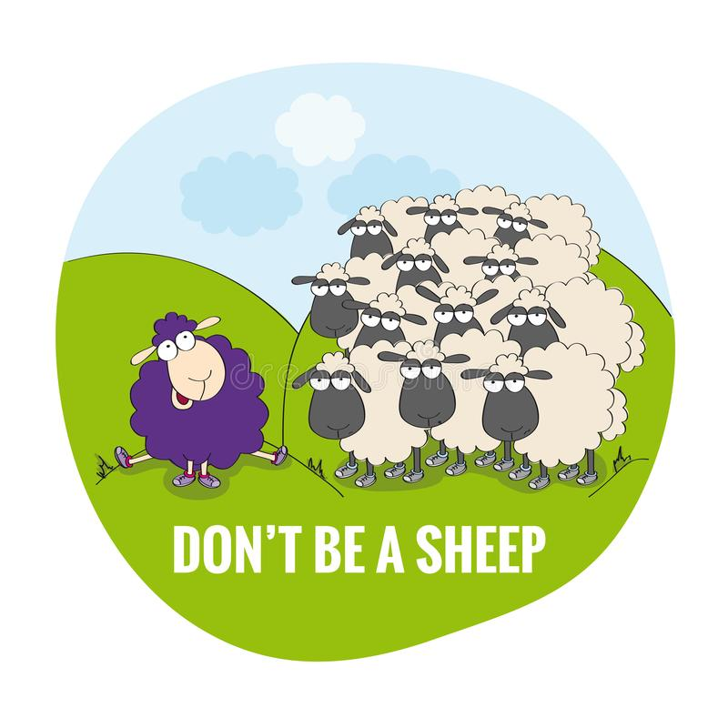 Don`t be a sheep. Be unique. Happy violet sheep sitting outside of the flock. The flock of same dull looking sheep standing on the meadow. Outstanding sheep royalty free illustration