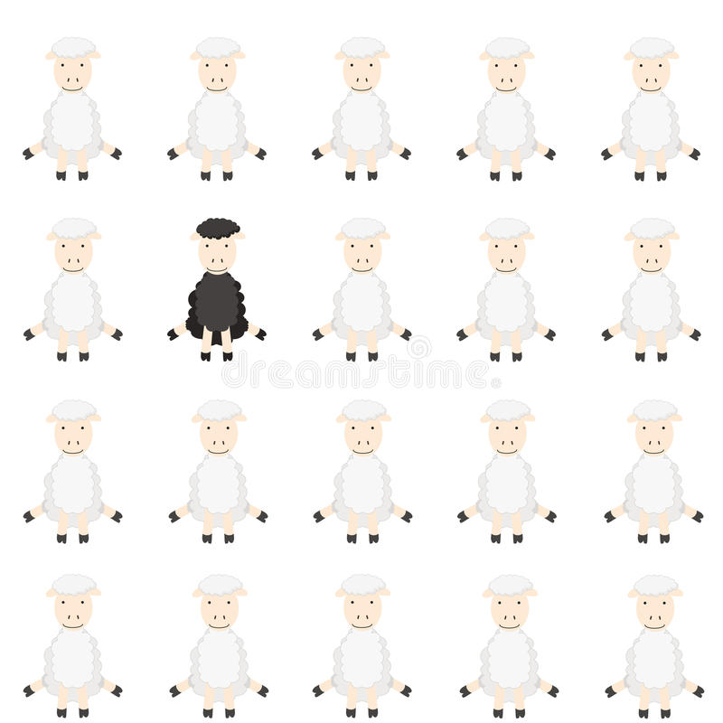 Flock of sheep. One black sheep in flock royalty free illustration