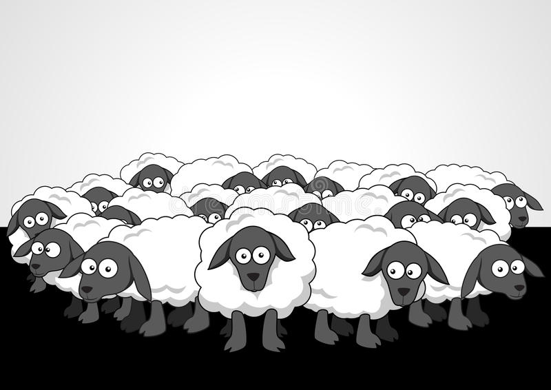 Flock Of Sheep. Cartoon illustration of the flock of sheep stock illustration