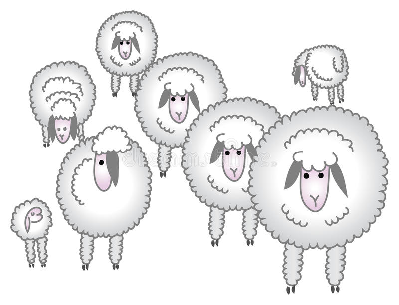 Flock of sheep/eps. Flock of sheep created in illustrator royalty free illustration