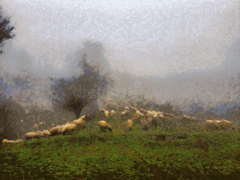 Flock of sheep grazing on the grass on the hills. Flock of sheep grazing on the grass on high hills with the fog over the hills, oil painting on canvas royalty free illustration
