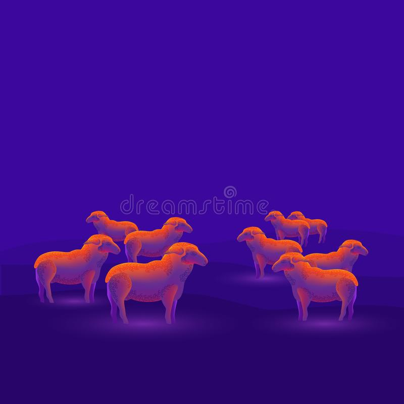 A flock of sheep isolated on a dark blue background. Modern design. Vector illustration royalty free illustration