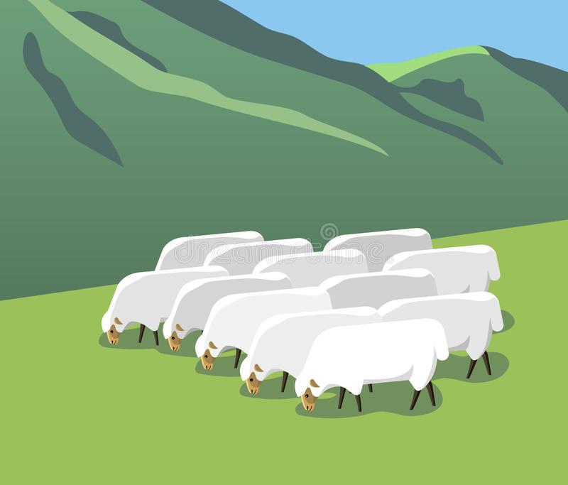 Flock of sheep on a mountain pasture. A flock of sheep grazes on a mountain pasture, minimalist style stock illustration
