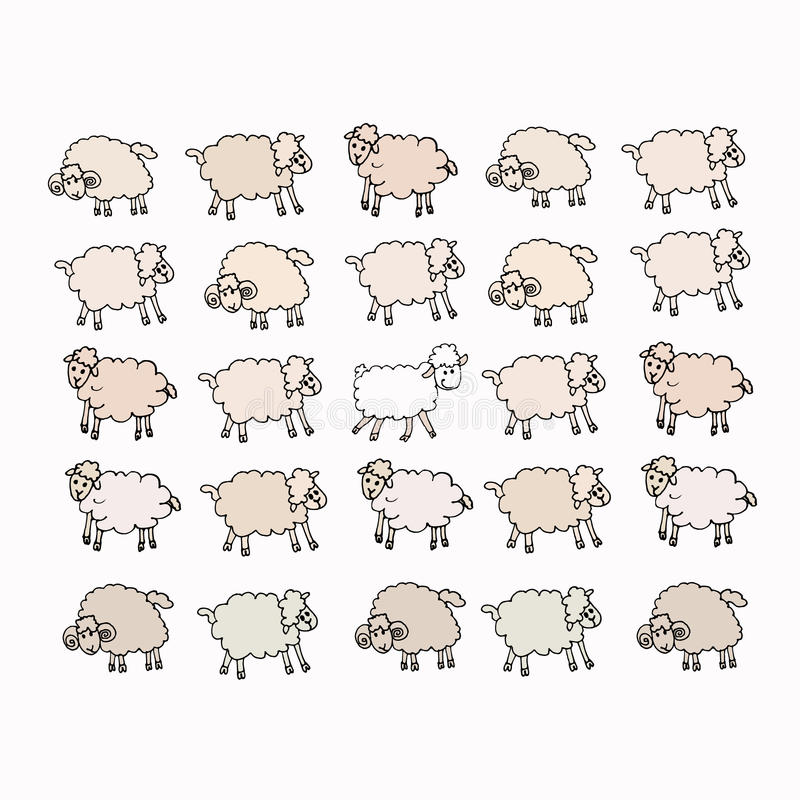 Flock of sheep. And one of them - white vector illustration