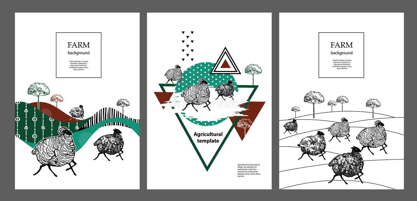 A flock of sheep is running. Geometric composition. Agricultural illustration. Template for pages, covers, flyers, banners. Set of agricultural banners royalty free illustration