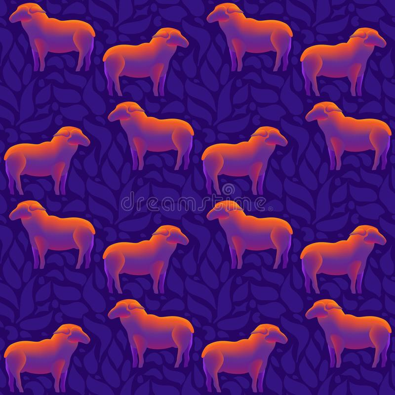 A flock of sheep seamless pattern. Vector. A flock of sheep seamless pattern. Shiny Sheep isolated on blue. Modern design. Vector illustration stock illustration