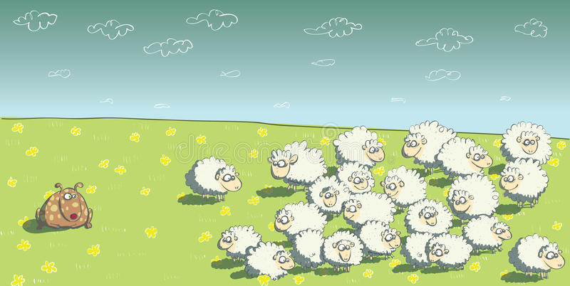 Flock of Sheep and Sheepdog. Illustration is in eps10 mode stock illustration