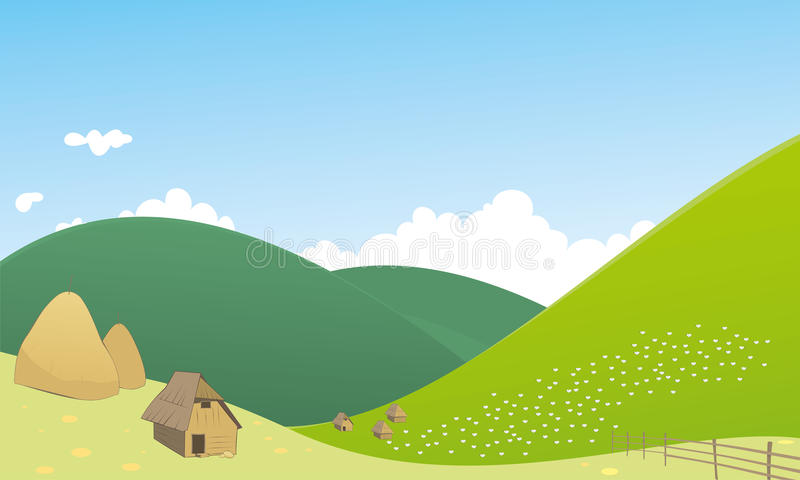 Landscape scene with sheep. Flock of sheep and shepherd house on hill vector illustration