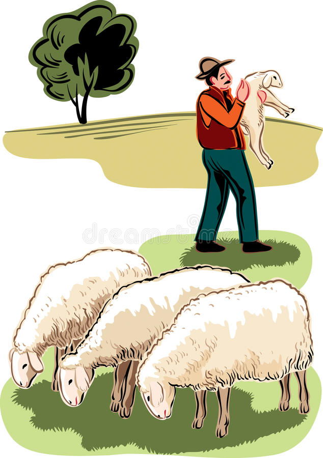 Flock of sheep and shepherd. With a lamb in her arms royalty free illustration