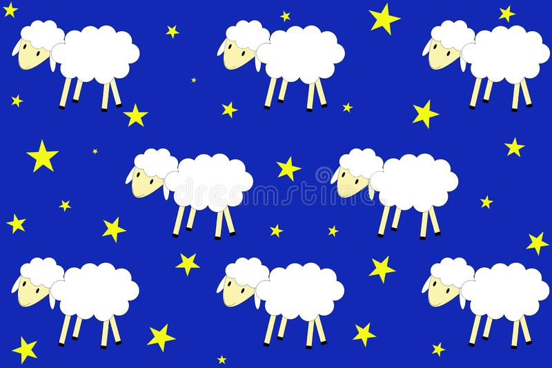 A flock of sheep walks in a night sky. Illustrated seamless pattern. A flock of sheep walks in a night sky full of stars royalty free illustration