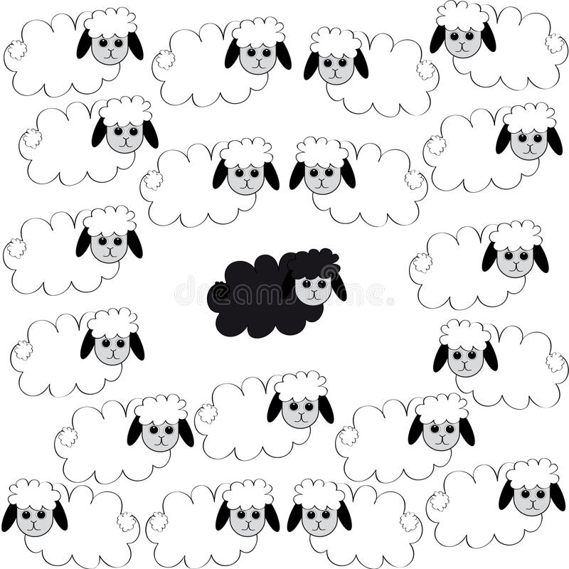 Flock of sheep on white background. With one black sheep. Vector illustration stock illustration