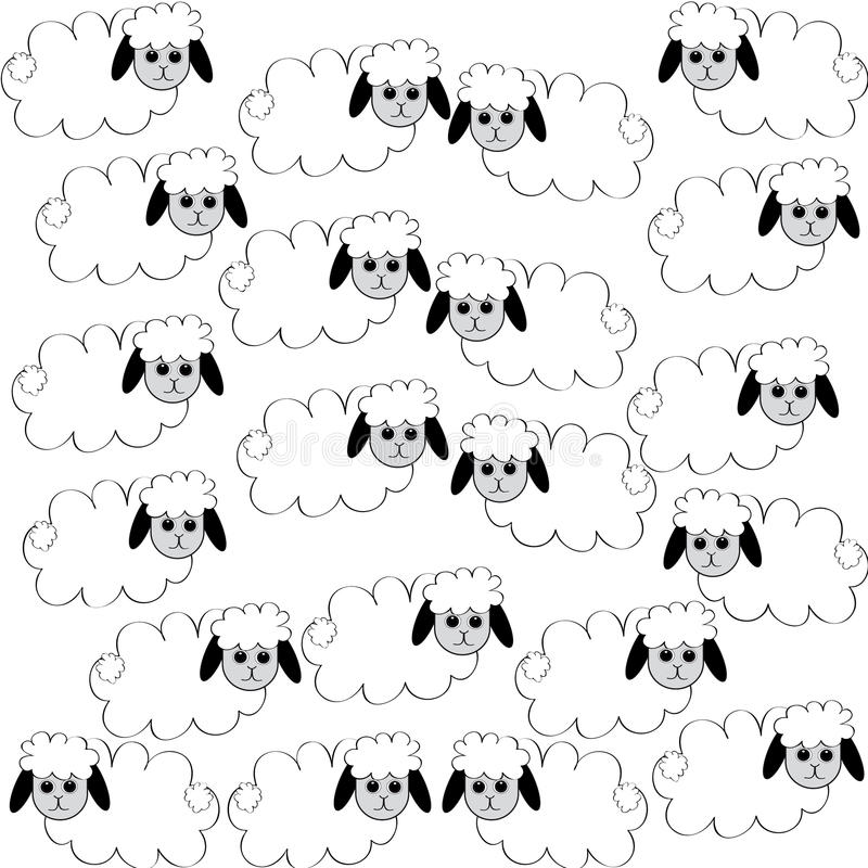 Flock of sheep on white background. Vector illustration royalty free illustration