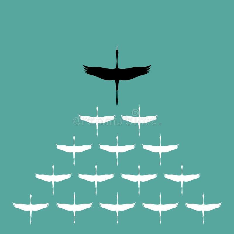 Flock of stork flying in the sky, stock illustration
