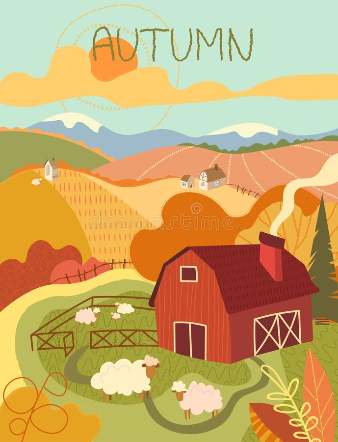 Flock of woolly sheep in a pasture near a red wooden barn in rolling hills. And farm fields in autumn with colorful orange foliage on the trees conceptual of royalty free illustration
