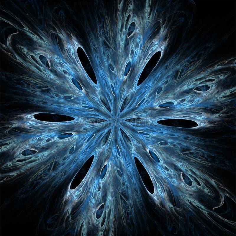 Floco azul da neve da cor abstrata da arte do fractal ilustração stock