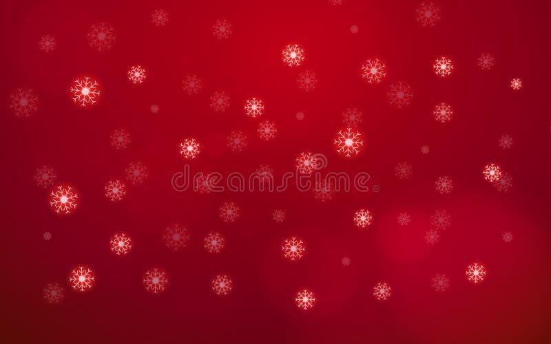 Floco branco abstrato da neve que cai do céu no fundo vermelho Feliz Natal e conceito feliz do Ano Novo Xmas bonito ilustração do vetor