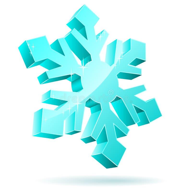 floco de neve 3D ilustração do vetor