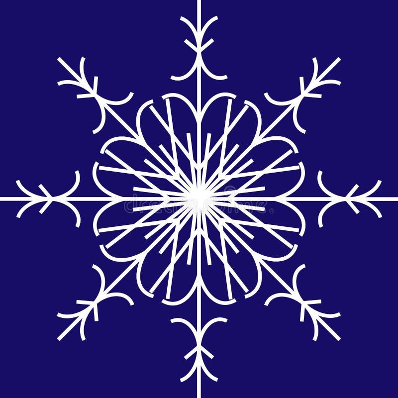 Floco de neve branco do vetor no fundo azul ilustração stock