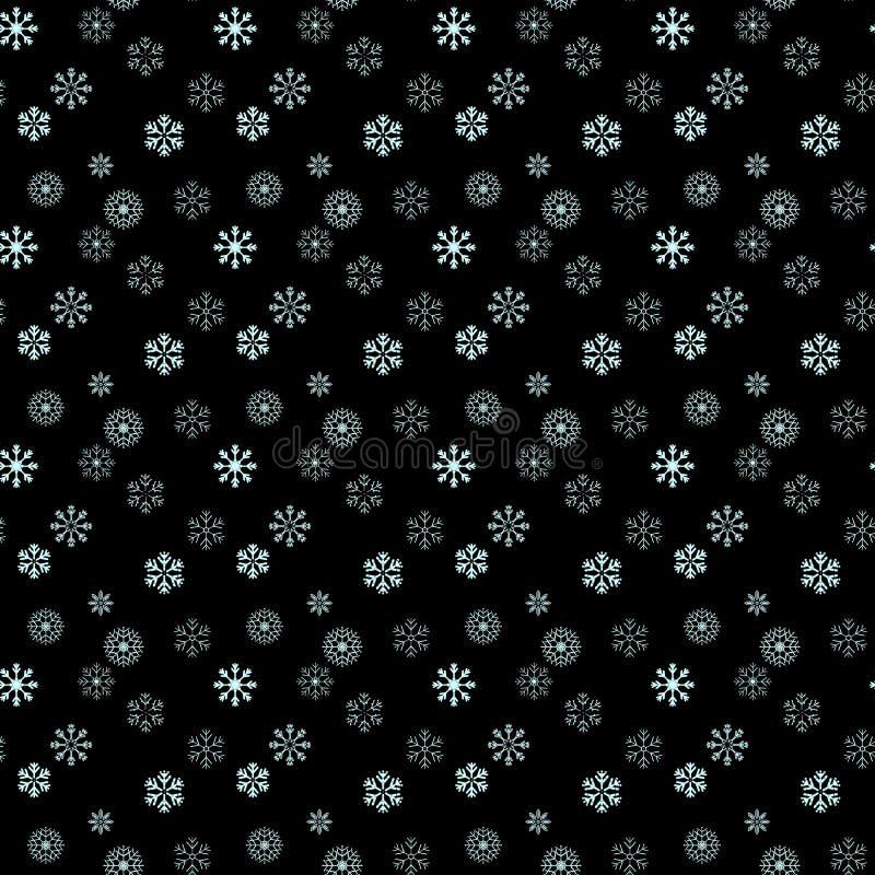 Floco de neve branco no teste padrão sem emenda simples preto Papel de parede abstrato, envolvendo a decoração Símbolo do inverno ilustração do vetor