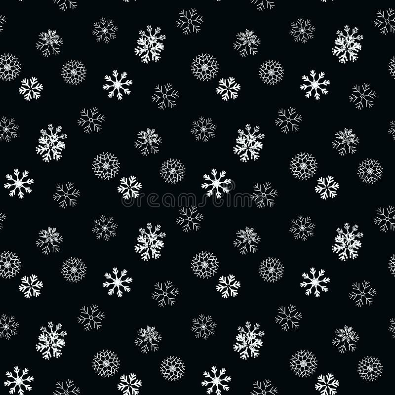 Floco de neve branco no teste padrão sem emenda simples preto Papel de parede abstrato, envolvendo a decoração Símbolo do inverno ilustração royalty free