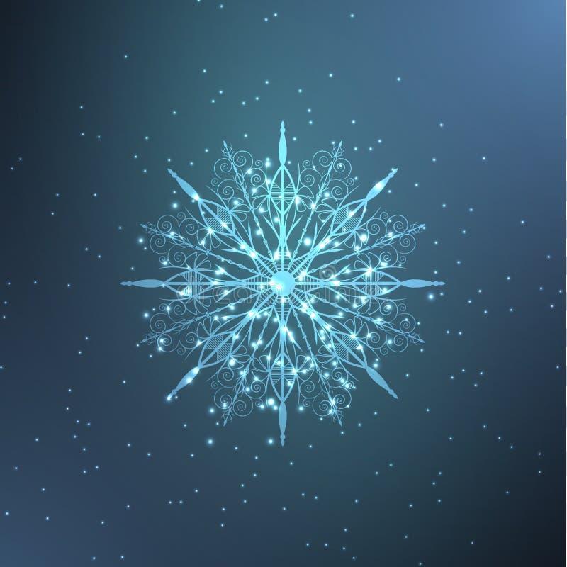 Floco de neve de néon ilustração do vetor