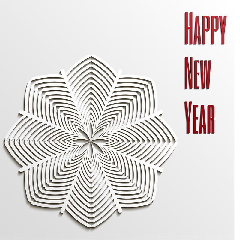 Floco de neve do ano novo feliz do fundo ilustração royalty free