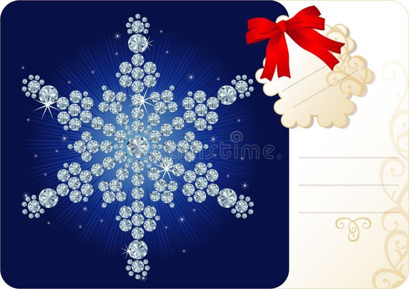 Floco de neve do diamante/fundo do Natal com Tag ilustração do vetor
