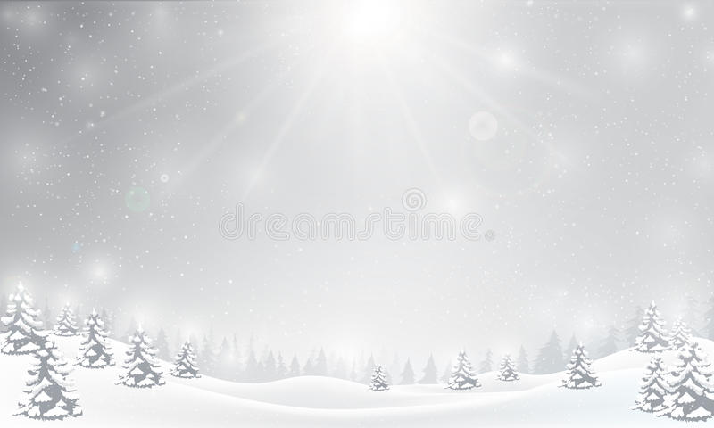 Floco de neve do inverno que cai no assoalho da neve e que ilumina-se sobre o cinza ilustração royalty free