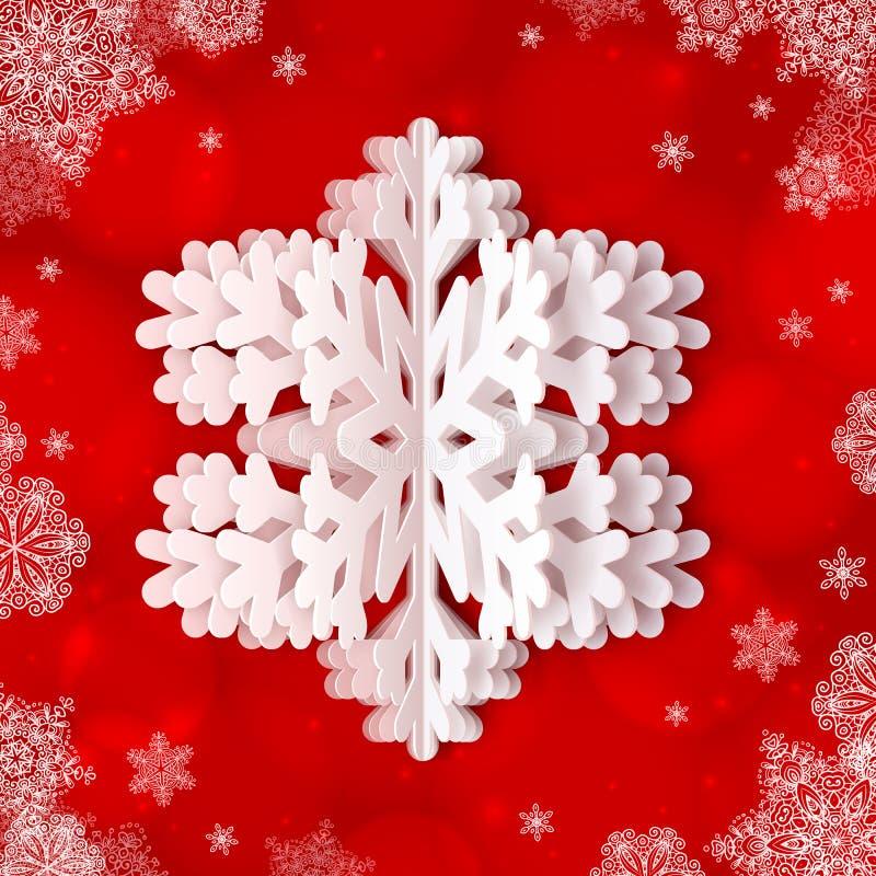 Floco de neve do Livro Branco no fundo ornamentado vermelho ilustração royalty free