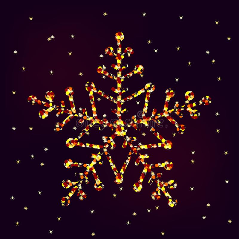 Floco de neve dourado decorativo com sparkles ilustração stock